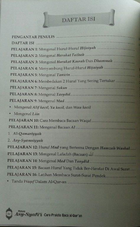 Buku Metode Asy-Syafi'i Cara Praktis Baca Al-Qur'an Kelas Iqra isi 2