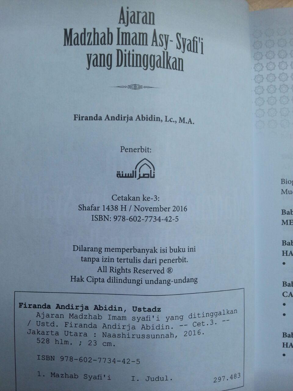 Buku Ajaran Madzhab Imam Asy-Syafii Yang Ditinggalkan isi