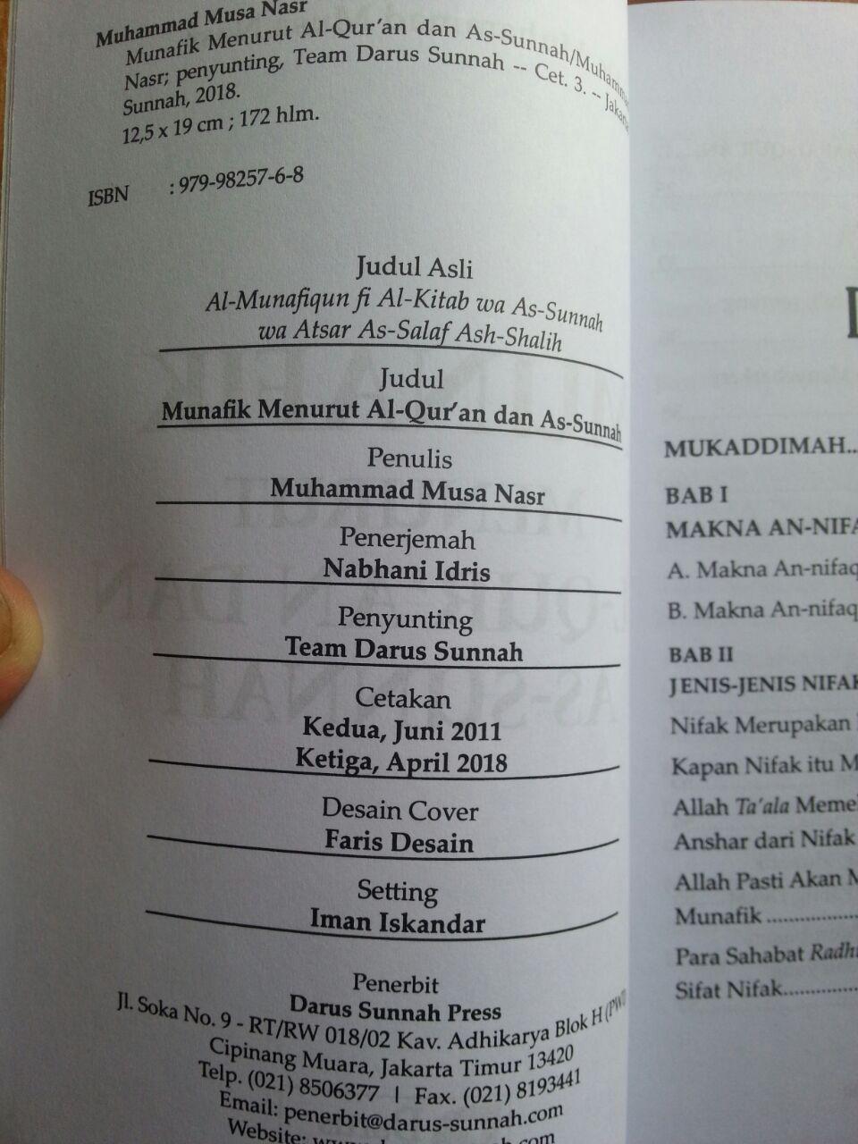 Buku Munafik Menurut Al-Quran dan As-Sunnah isi