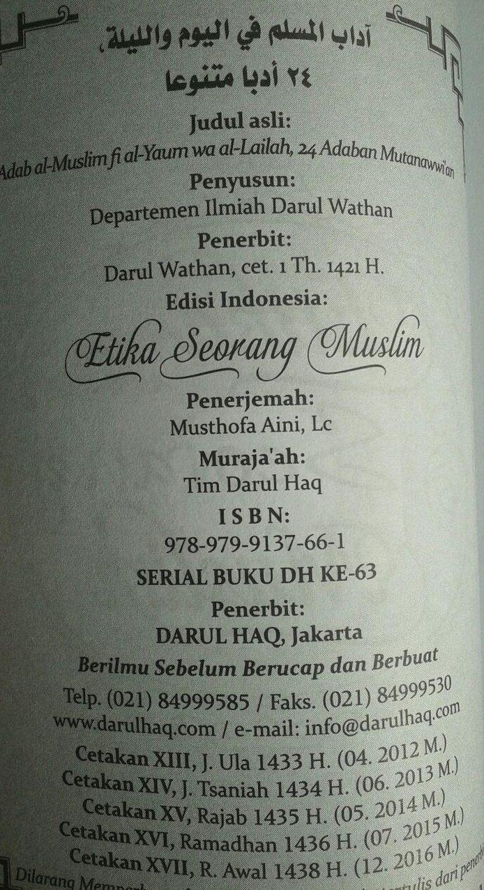 Buku Saku Etika Seorang Muslim isi 3