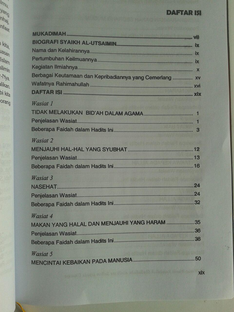 Buku Wasiat-Wasiat Rasulullah Kepada Umatnya isi 2