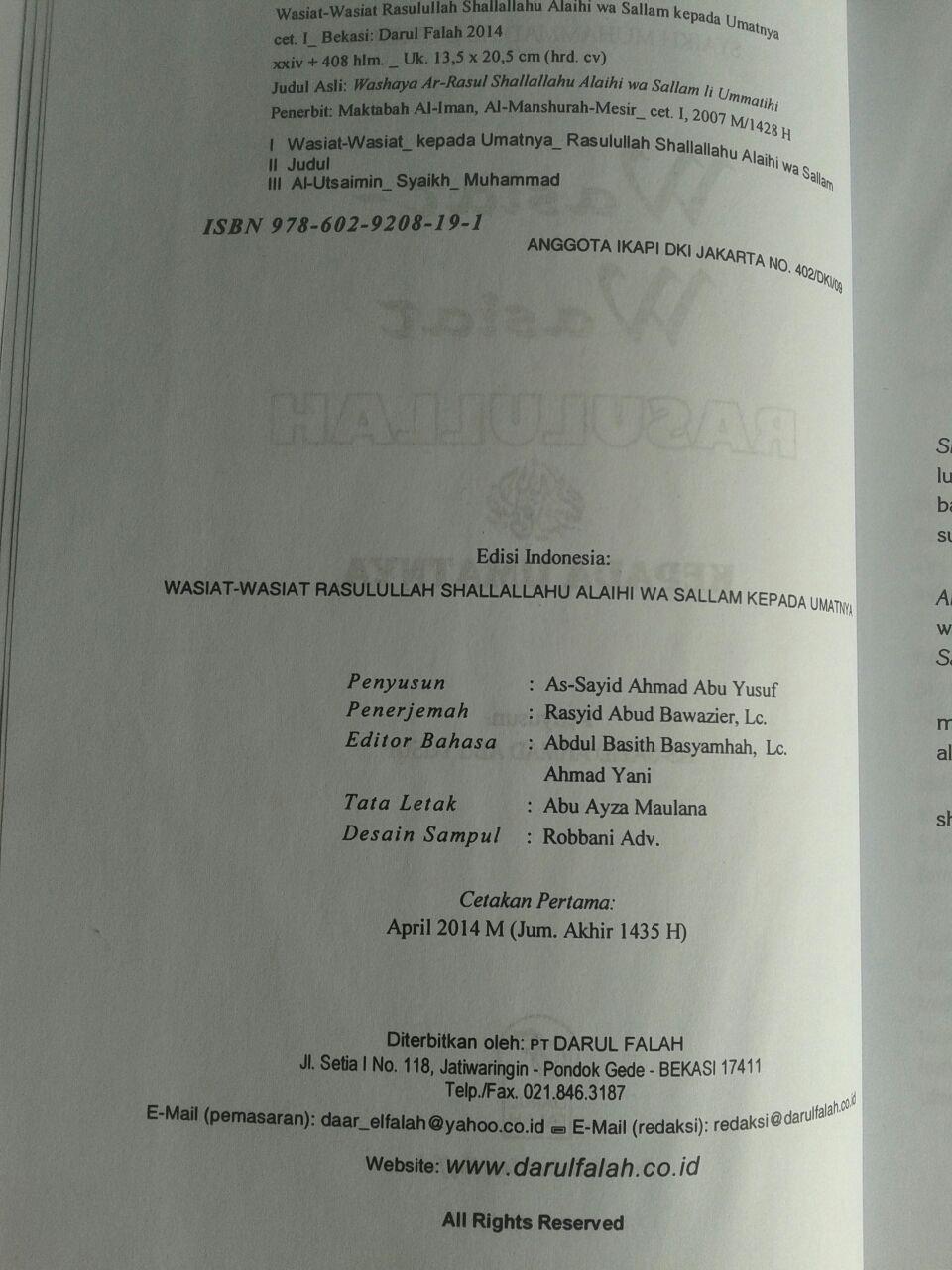 Buku Wasiat-Wasiat Rasulullah Kepada Umatnya isi 3