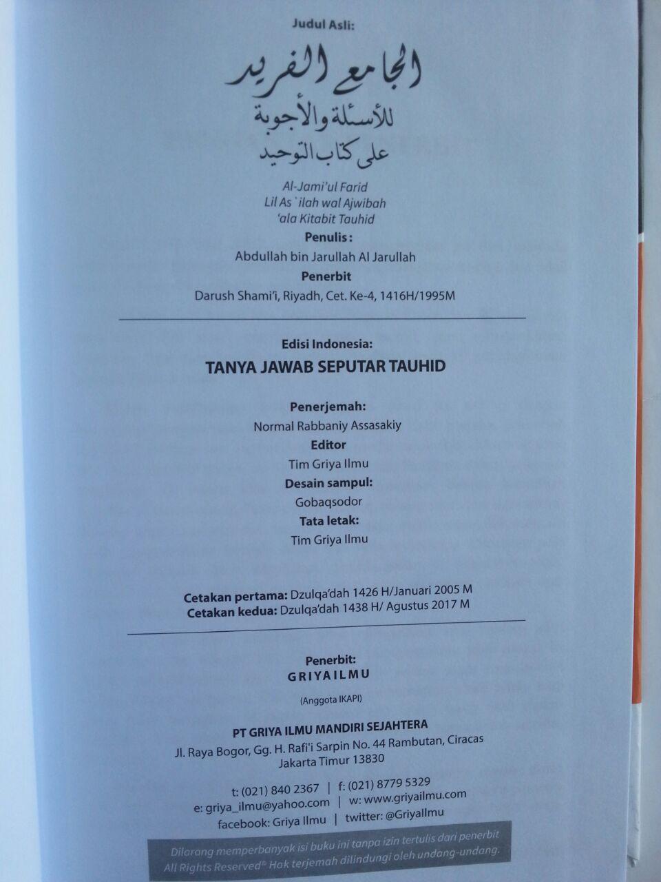 Buku Tanya Jawab Seputar Tauhid isi
