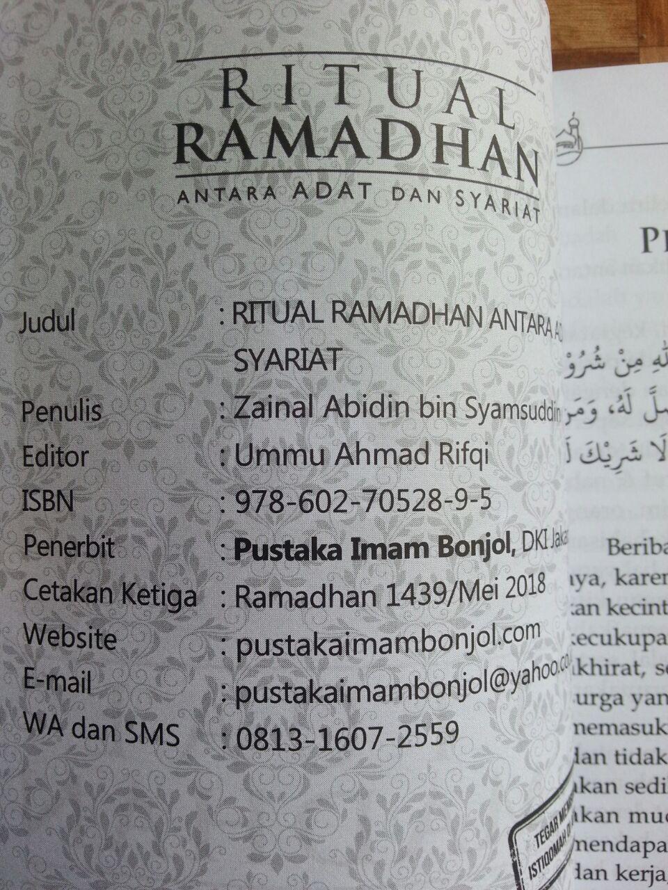 Buku Ritual Ramadhan Antara Adat Dan Syariat isi