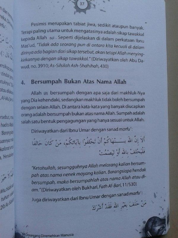 Buku Dosa Dosa Yang Diremehkan Manusia Ensiklopedi 460 Dosa & Larangan isi