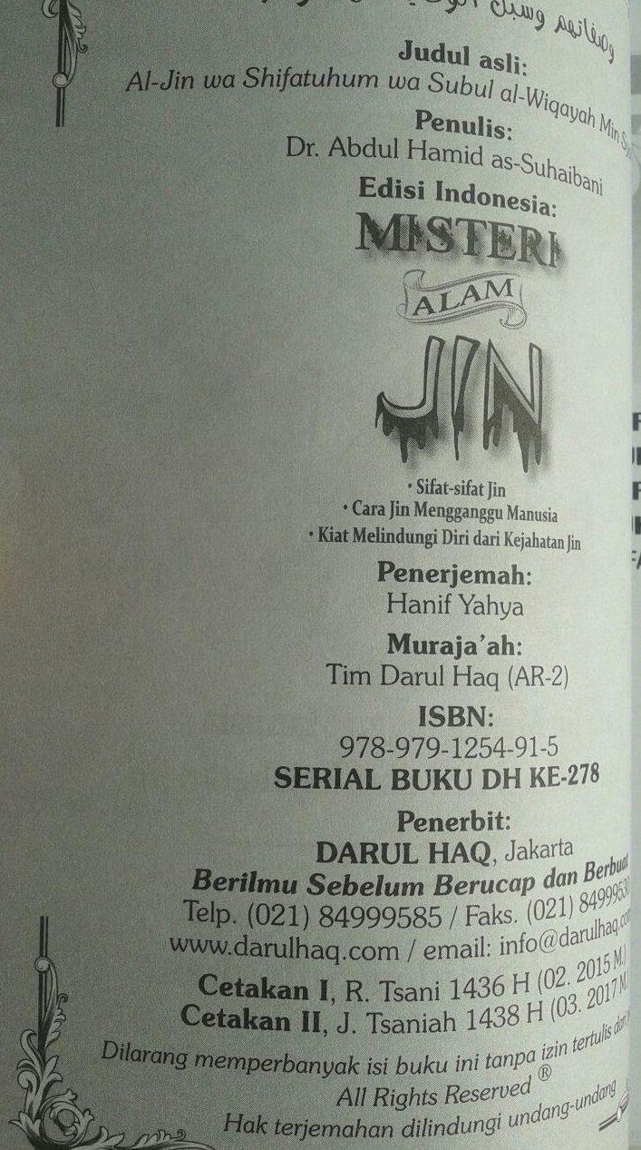 Buku Misteri Alam Jin Berdasarkan Al-Quran dan As-Sunnah isi 2