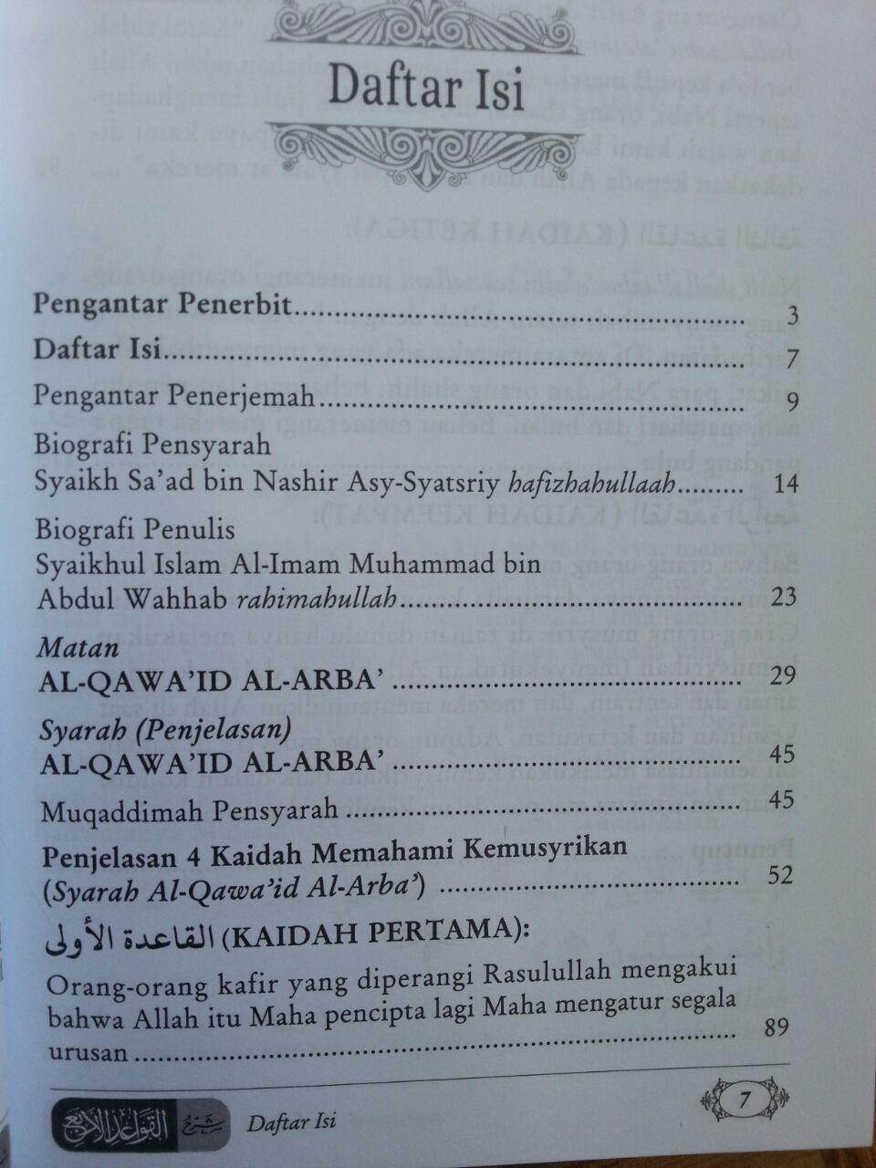 Buku Syarah al-Qawa'id al-Arba' 4 Kaidah Memahami Kemusyrikan isi