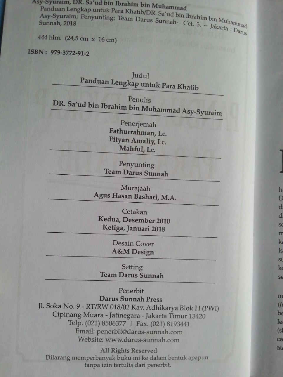 Buku Panduan Lengkap Untuk Para Khatib isi