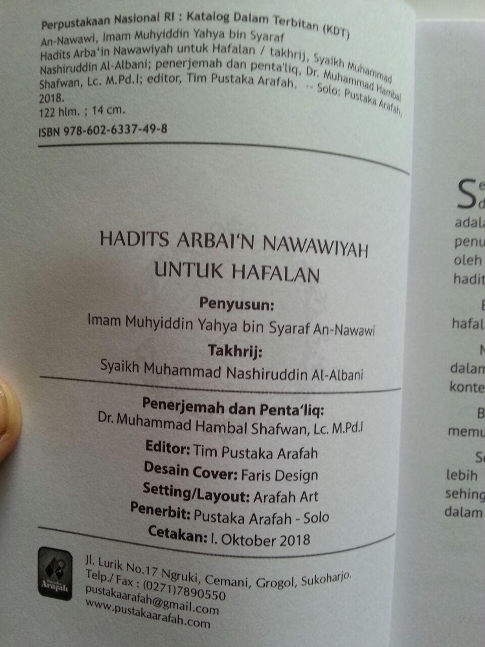 Buku Hadits Arba'in Nawawiyah Untuk Hafalan isi 3