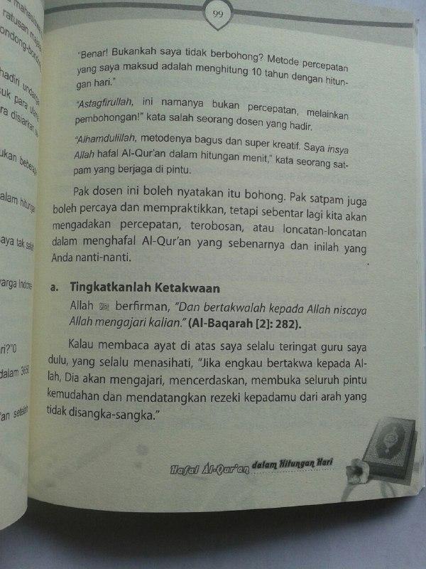 Buku Hafal Al-Qur'an Dalam Hitungan Hari isi