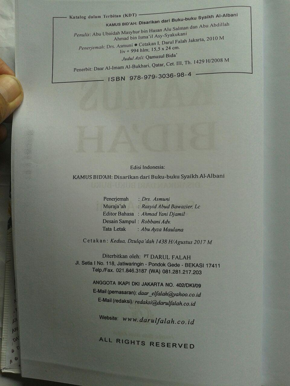 Buku Kamus Bid'ah Disarikan Dari Buku Buku Syaikh Al-Albani 240,000 20% 192,000 isi 3