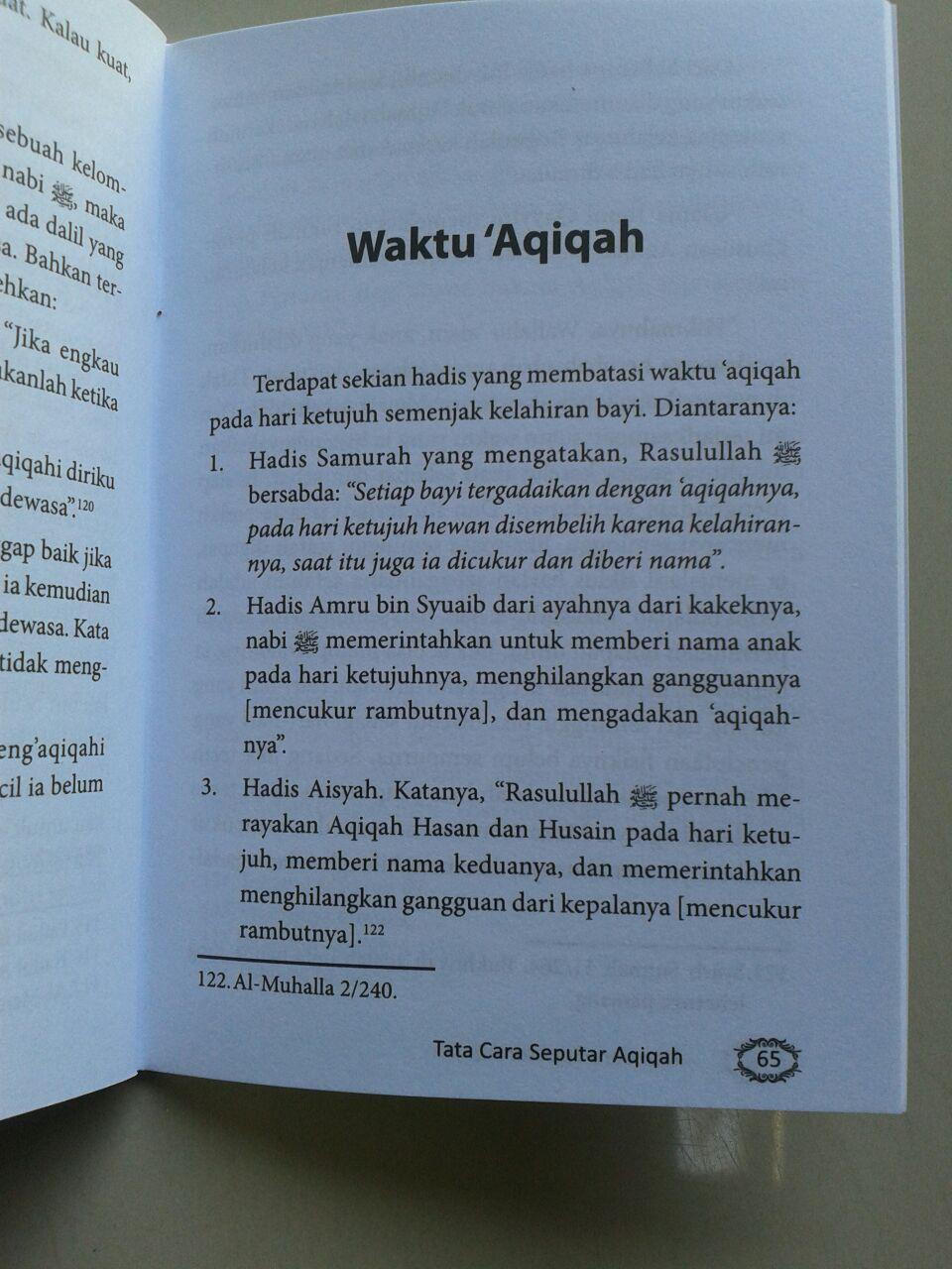 Buku Saku Seputar Aqiqah Berdasarkan Al-Quran & As-Sunnah Ash-Shahihah isi