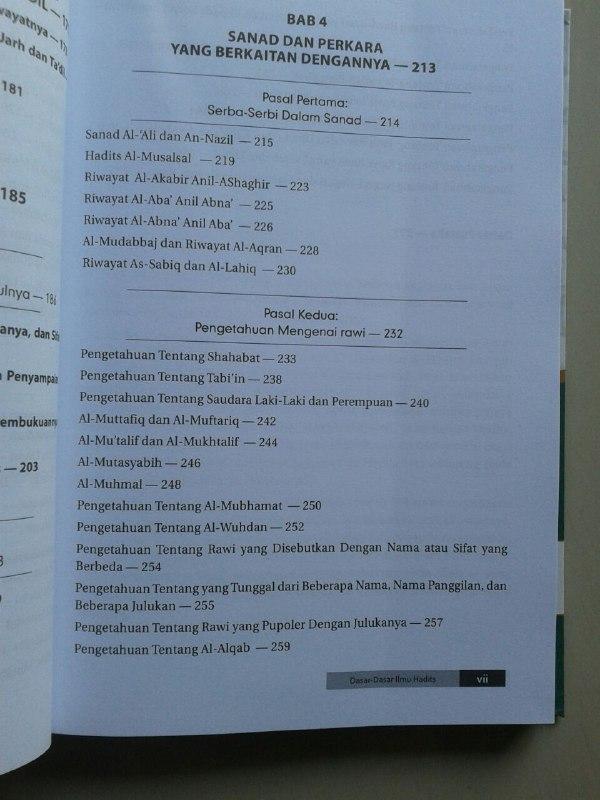 Buku Dasar Dasar Ilmu Hadits Sejarah Ilmu Rawi Sanad Matan Mutawattir isi