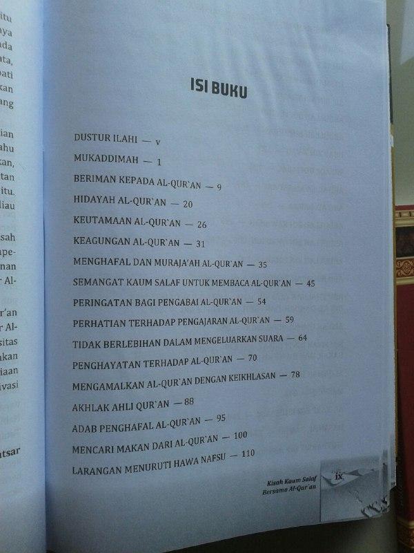Buku Kisah Kaum Salaf Bersama Al-Qur'an isi