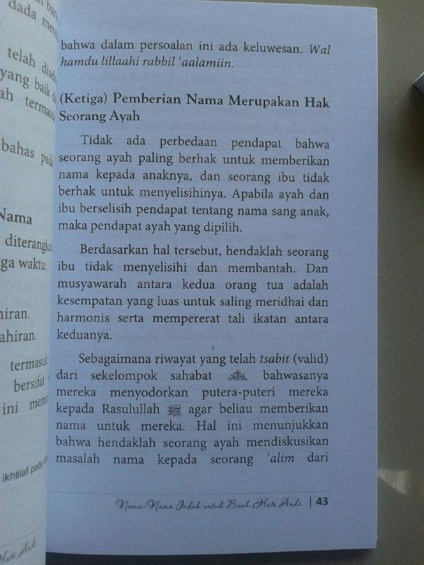 Buku Nama Nama Indah Untuk Buah Hati Anda isi