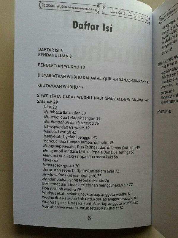Buku Tata Cara Wudhu Sesuai Tuntunan Rasulullah isi