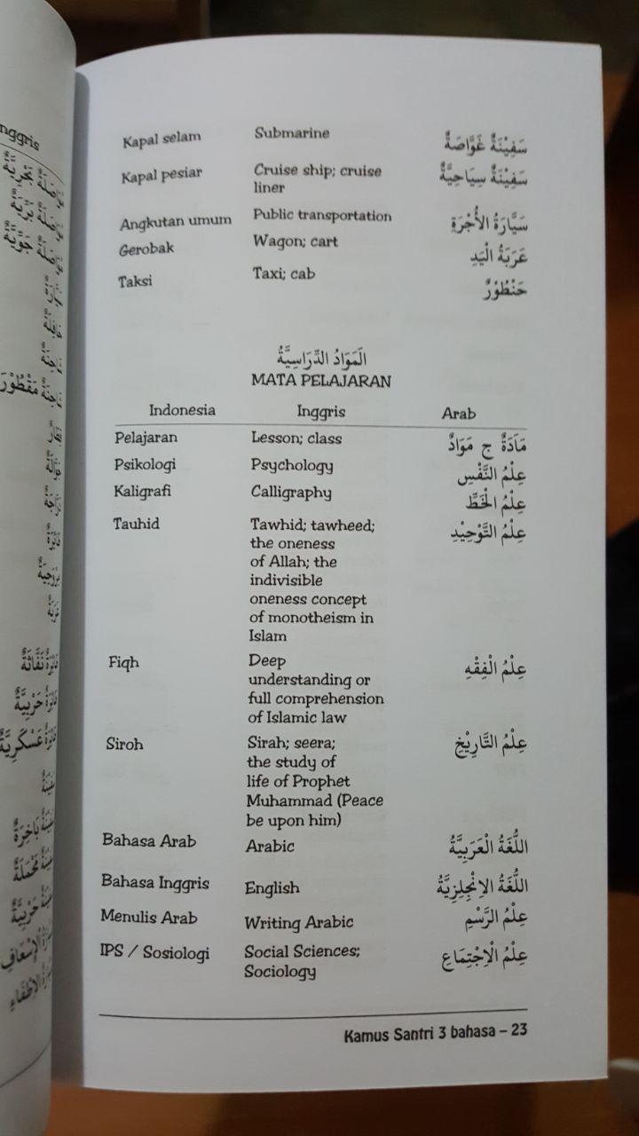Buku Kamus Santri 3 Bahasa Isi