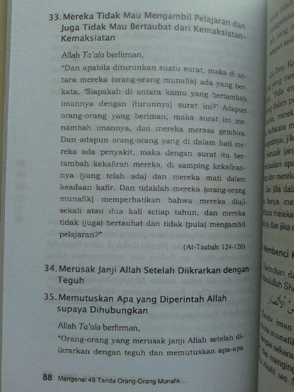 Buku Mengenal 49 Tanda Orang Orang Munafik Dan Cara Mengobatinya isi 2