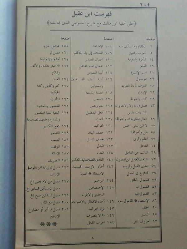 Kitab Syarah Al'Alamah Ibnu Aqil 'Alal Alfiyyah Ibnu Malik isi