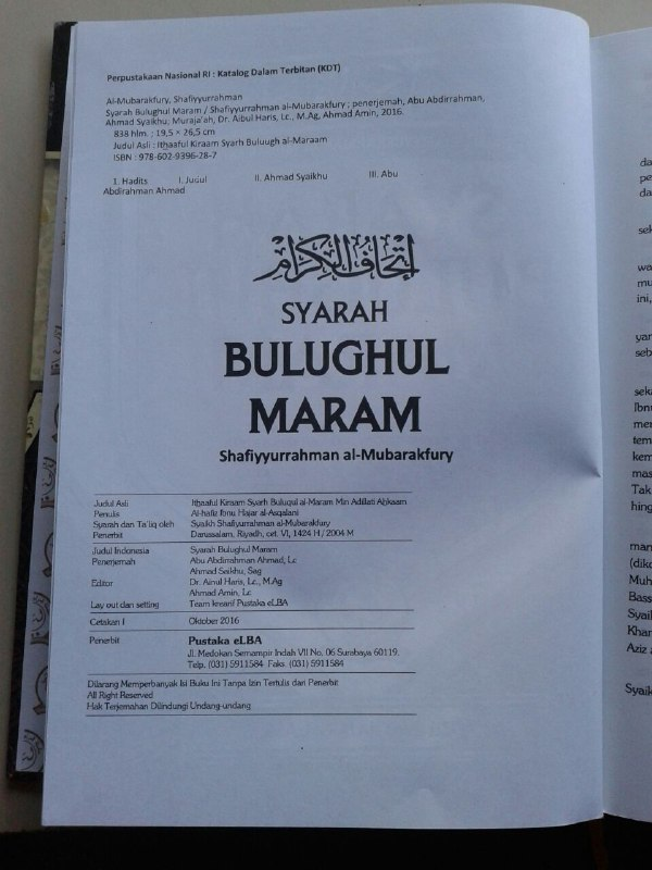 Buku Syarah Bulughul Maram Terjemah Maknawi Matan Hadits isi 3