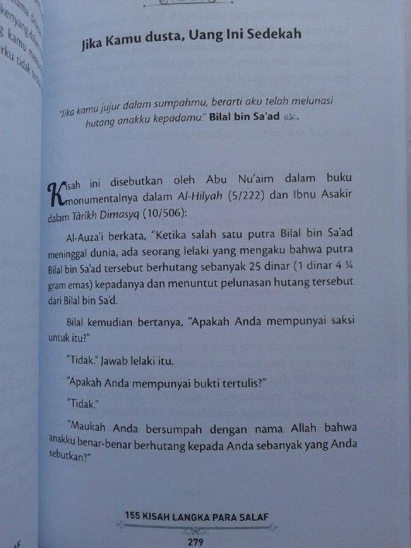 Buku 155 Kisah Langka Para Salaf Dari Kitab Turats isi