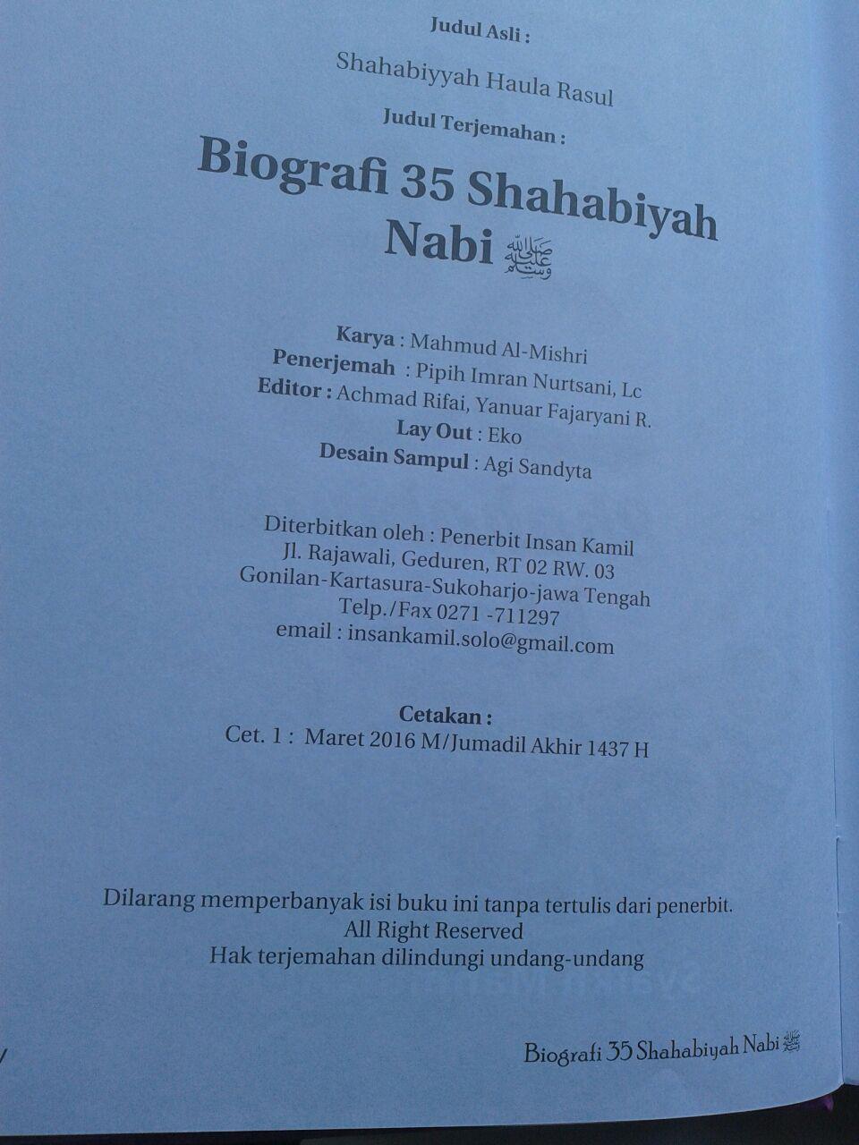 Buku Biografi 35 Shahabiyah Nabi Shallallahu Alaihi wa Sallam isi 2
