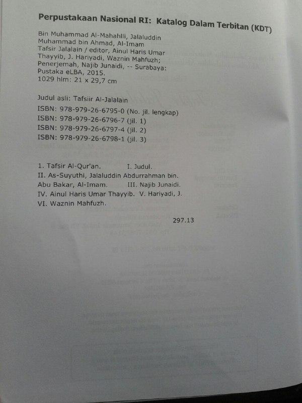 Buku Tafsir Jalalain Set 3 Jilid isi 4
