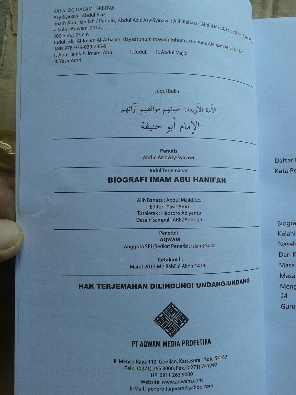 Buku Biografi Imam Abu Hanifah isi 3