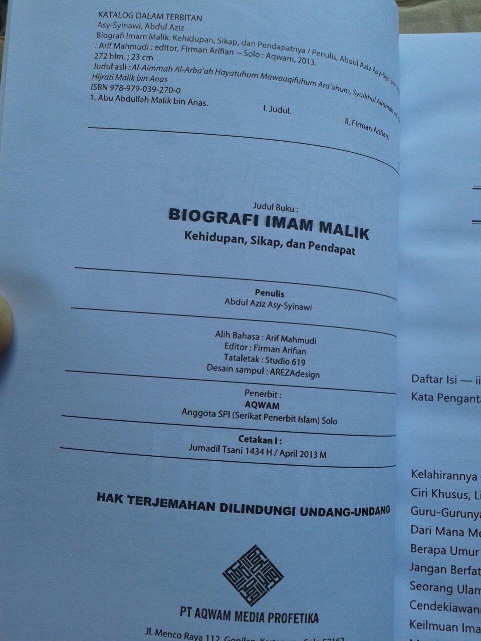 Buku Biografi Imam Malik isi 4