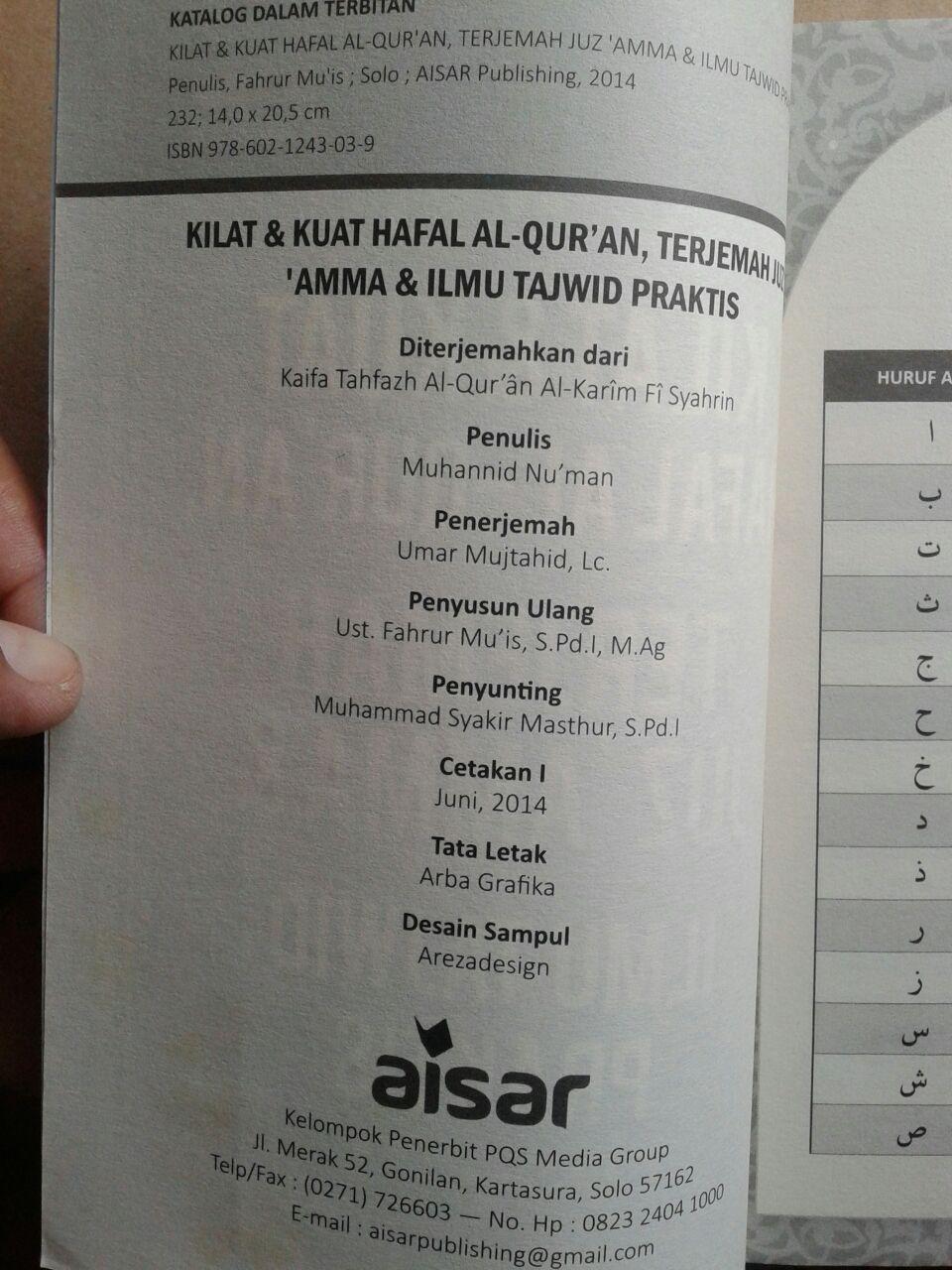 Buku Kilat Dan Kuat Hafal Al-Qur'an Terjemah Juz Amma Tajwid isi