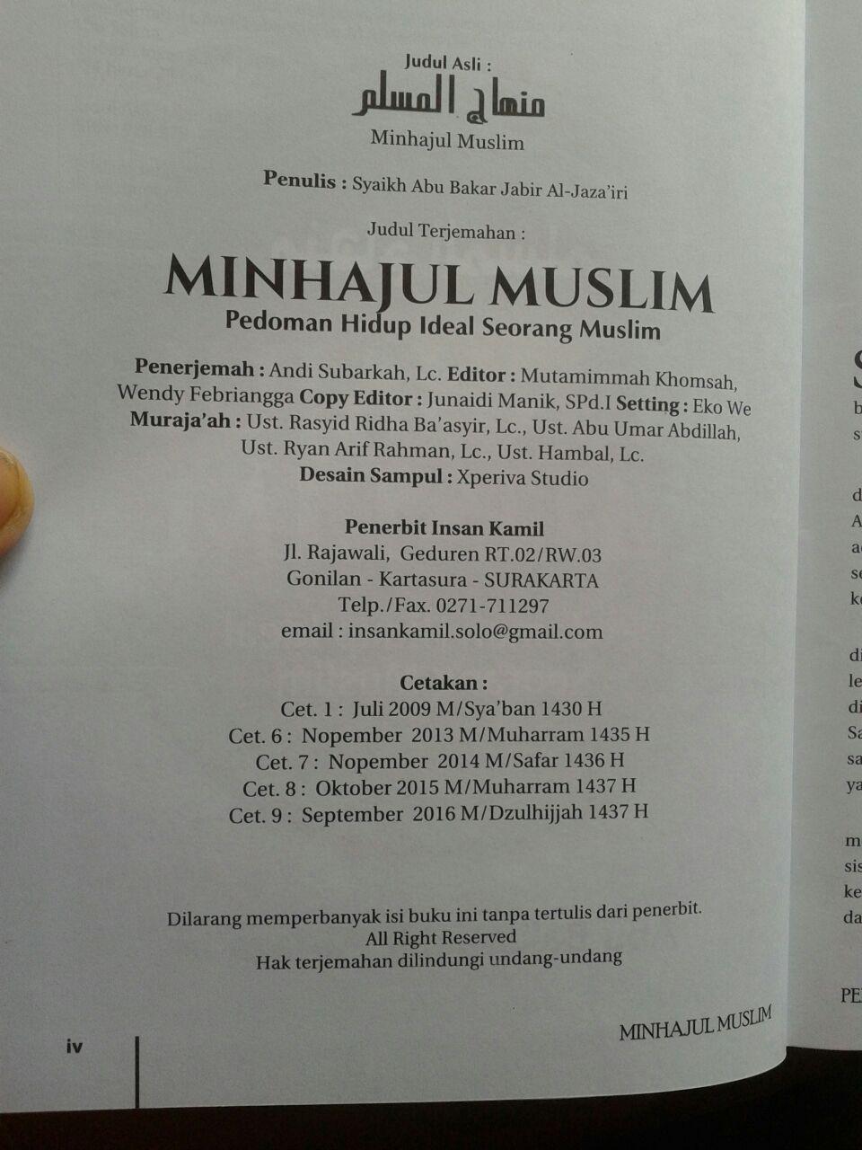 Buku Minhajul Muslim Pedoman Hidup Ideal Seorang Muslim isi 4