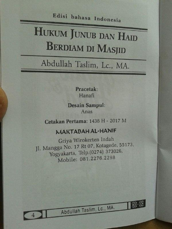 Buku Saku Hukum Junub Dan Haid Berdiam Di Masjid isi 2
