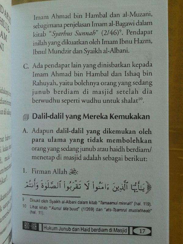 Buku Saku Hukum Junub Dan Haid Berdiam Di Masjid isi