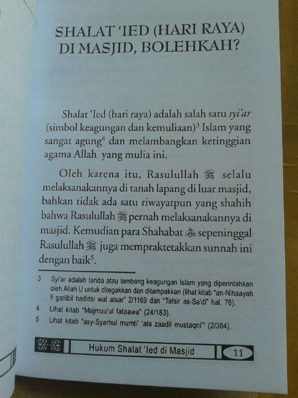 Buku Saku Hukum Shalat Ied Di Masjid isi