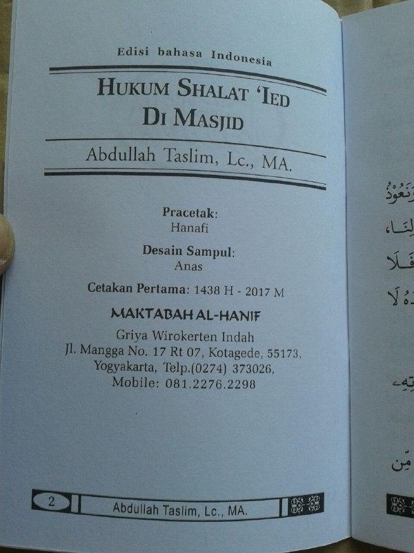 Buku Saku Hukum Shalat Ied Di Masjid isi 2