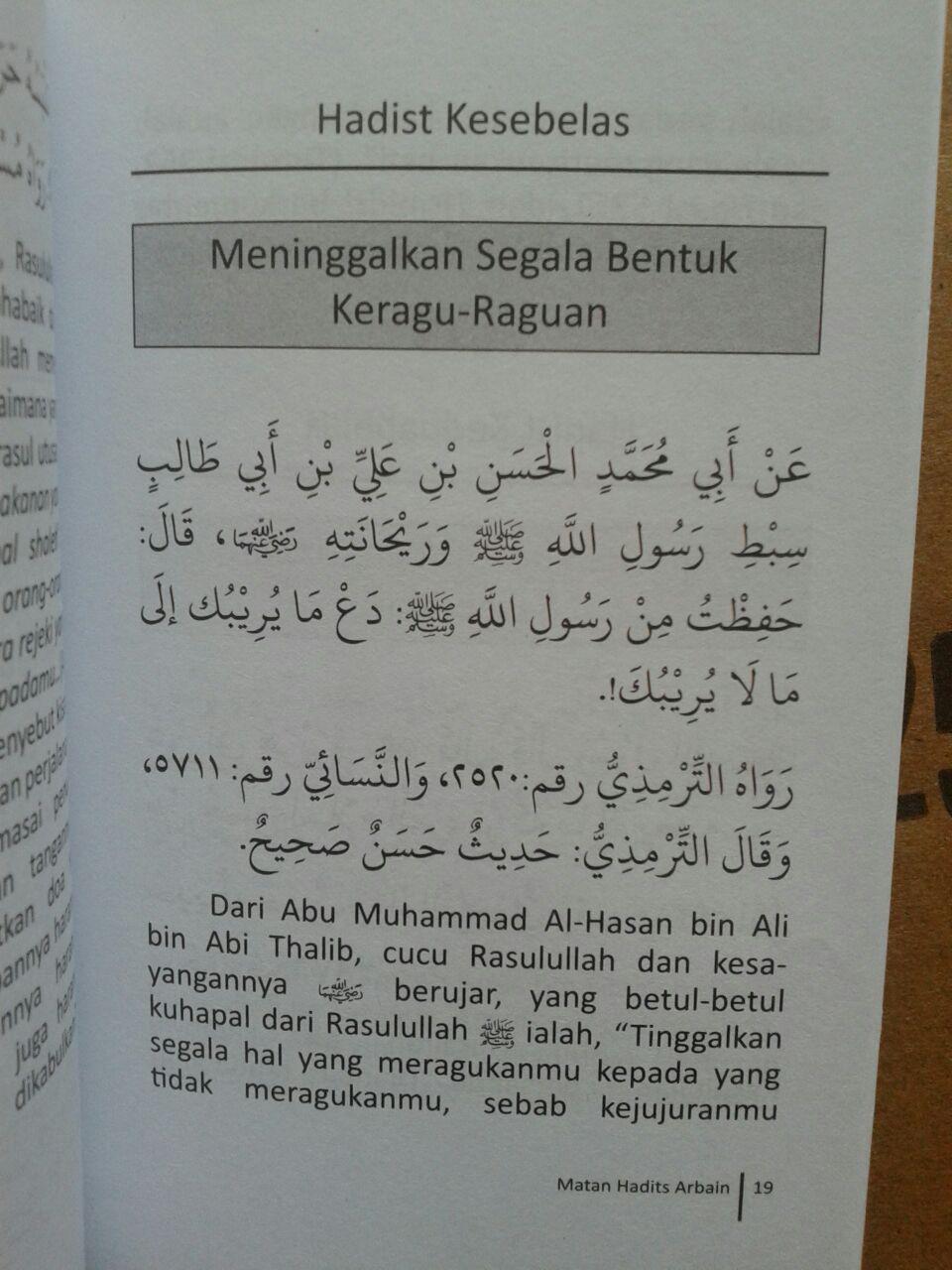 Buku Saku Matan Hadits Arbain Imam An-Nawawi isi 3