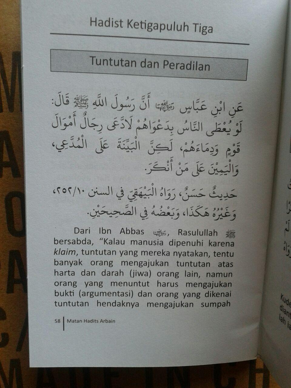 Buku Saku Matan Hadits Arbain Imam An-Nawawi isi 4