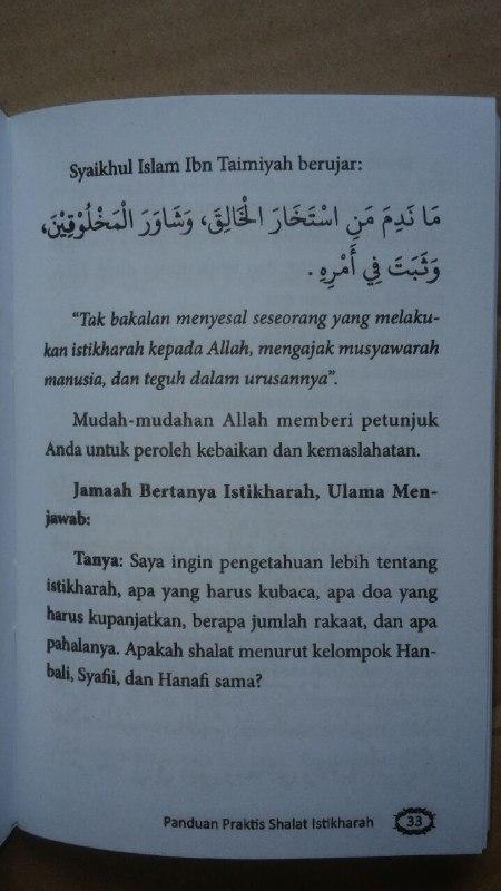 Buku Saku Panduan Praktis Shalat Istikharah Sesuai Sunnah isi
