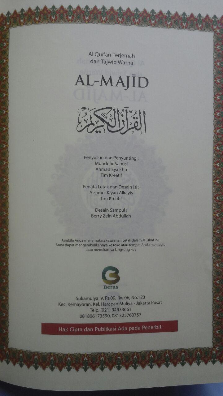 Al-Quran Terjemah Dan Tajwid Warna Al-Majid Ukuran A4 105,000 15% 89,250 isi 2