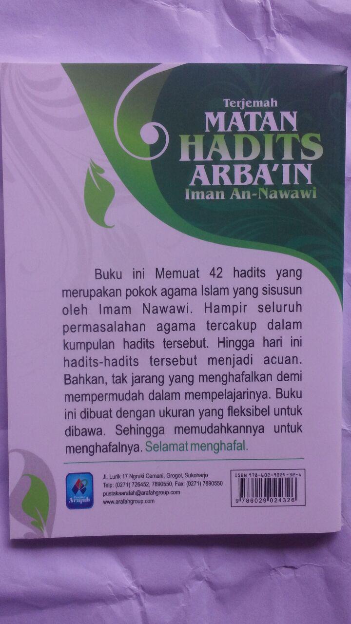 BK2789 Buku Saku Terjemah Matan Hadits Arbain Imam An-Nawawi 5.000 15% 4.250 Pustaka Arafah cover 2