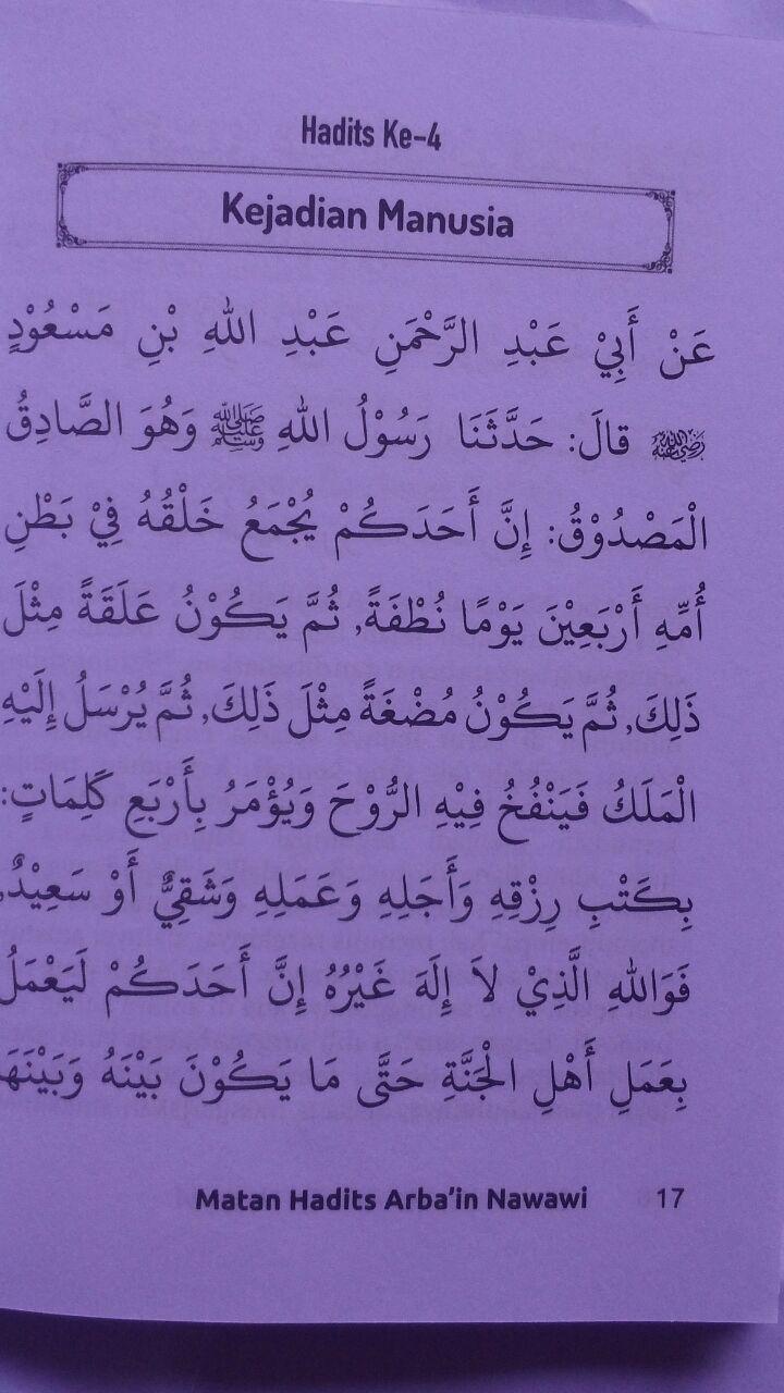 BK2789 Buku Saku Terjemah Matan Hadits Arbain Imam An-Nawawi 5.000 15% 4.250 Pustaka Arafah isi 2