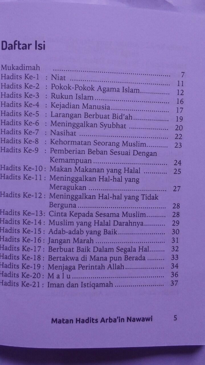 BK2789 Buku Saku Terjemah Matan Hadits Arbain Imam An-Nawawi 5.000 15% 4.250 Pustaka Arafah isi 3