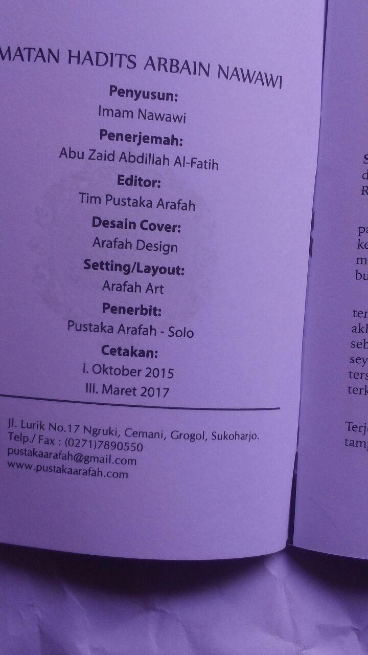 BK2789 Buku Saku Terjemah Matan Hadits Arbain Imam An-Nawawi 5.000 15% 4.250 Pustaka Arafah isi 4