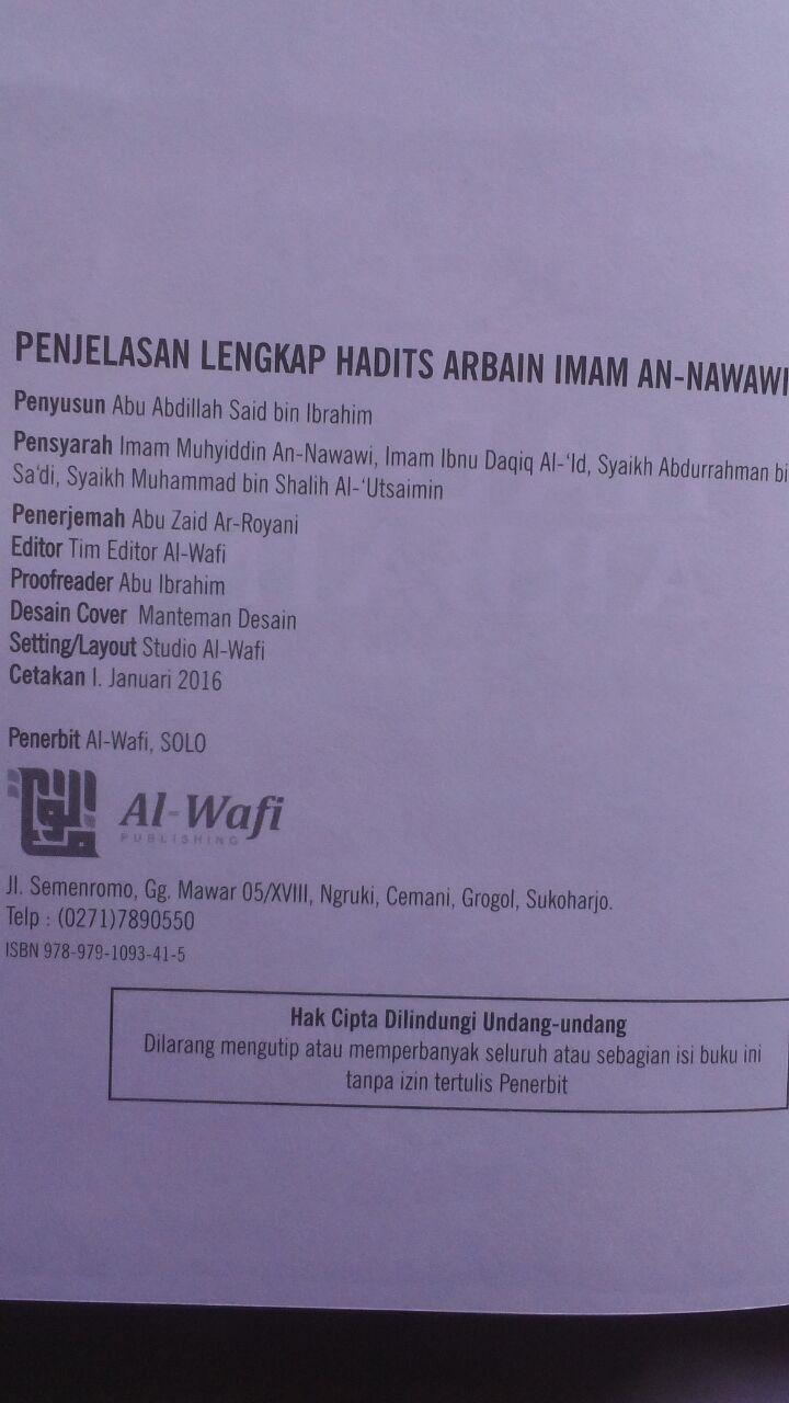 BK2790 Buku Penjelasan Lengkap Hadits Arbain Imam An-Nawawi 80.000 20% 64.000 Al-Wafi Publishing isi 3
