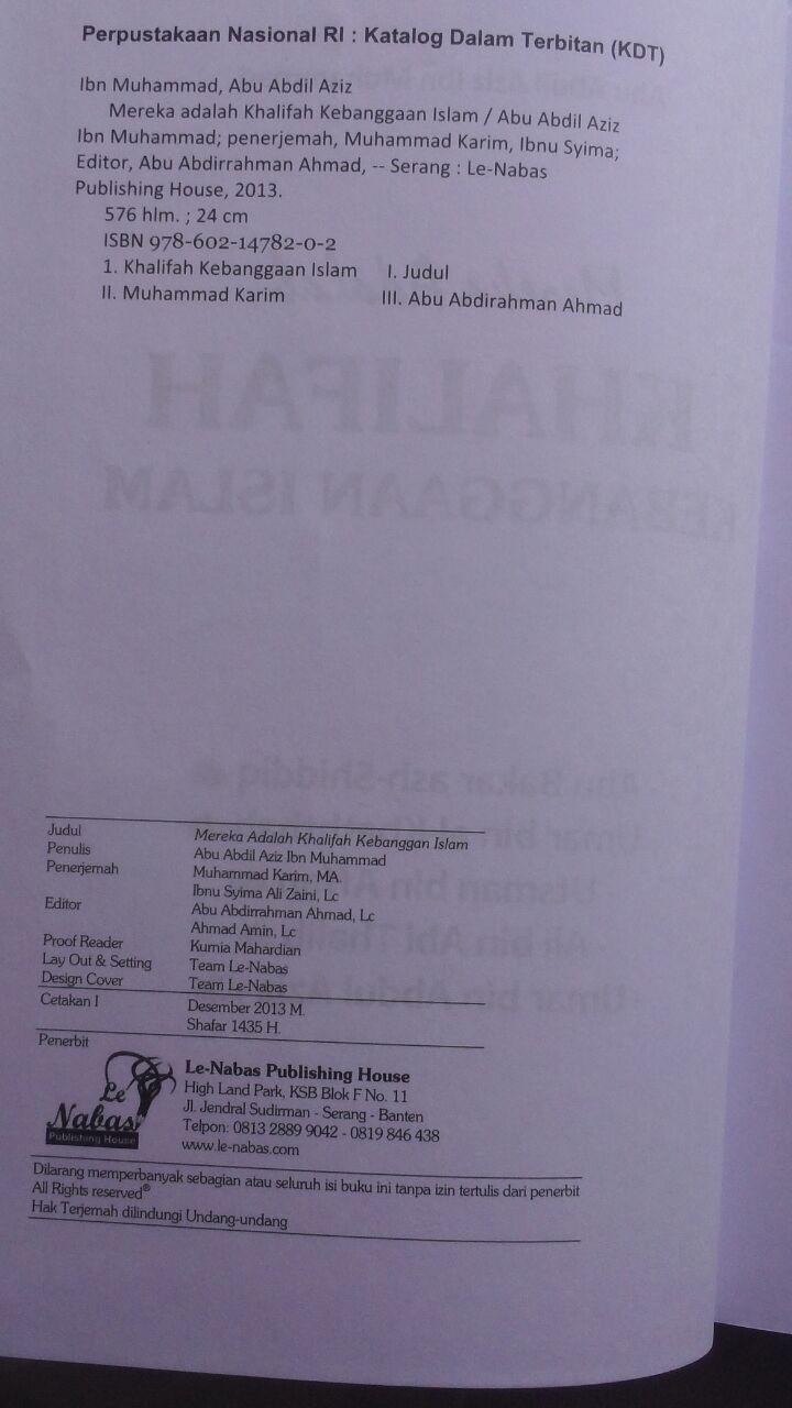 BK2792 Buku Mereka Adalah Khalifah Kebanggaan Islam 125.000 20% 100.000 Le Nabas Publishing isi 5