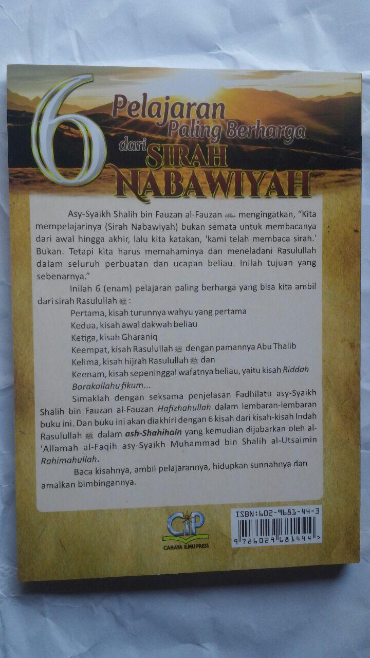 BK2794 Buku 6 Pelajaran Paling Berharga Dari Sirah Nabawiyah 35.000 15% 29.750 Cahaya Ilmu Press cover 2