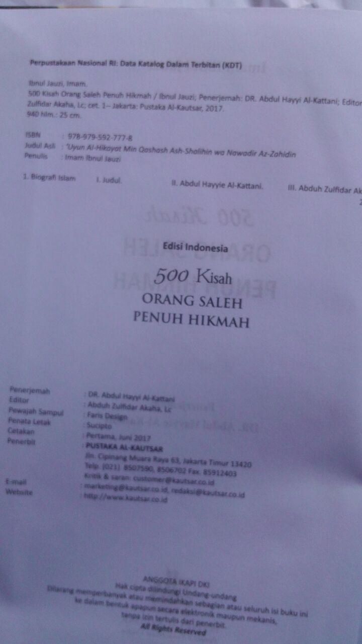 BK2797 Buku 500 Kisah Orang Saleh Penuh Hikmah 210.000 20% 168.000 Pustaka Al-Kautsar isi2