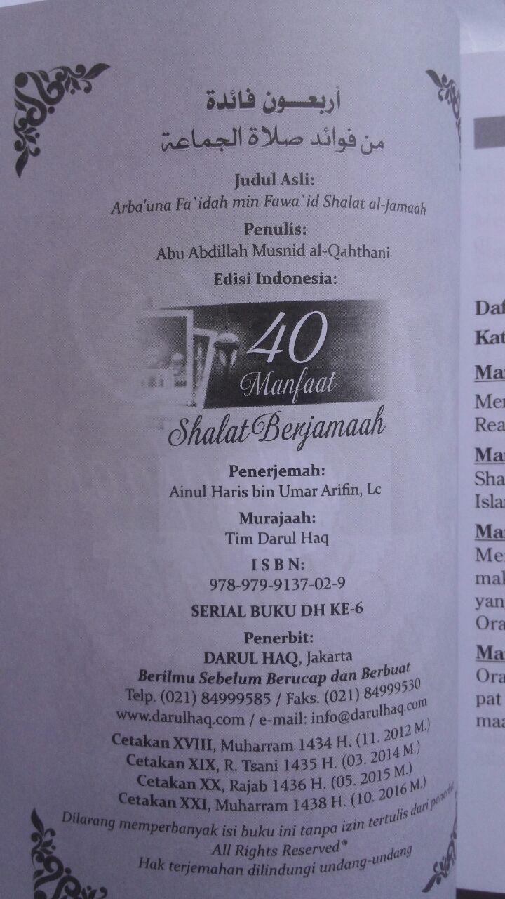 Buku 40 Manfaat Shalat Berjamaah 15.000 15% 12.750 Darul Haq isi 5