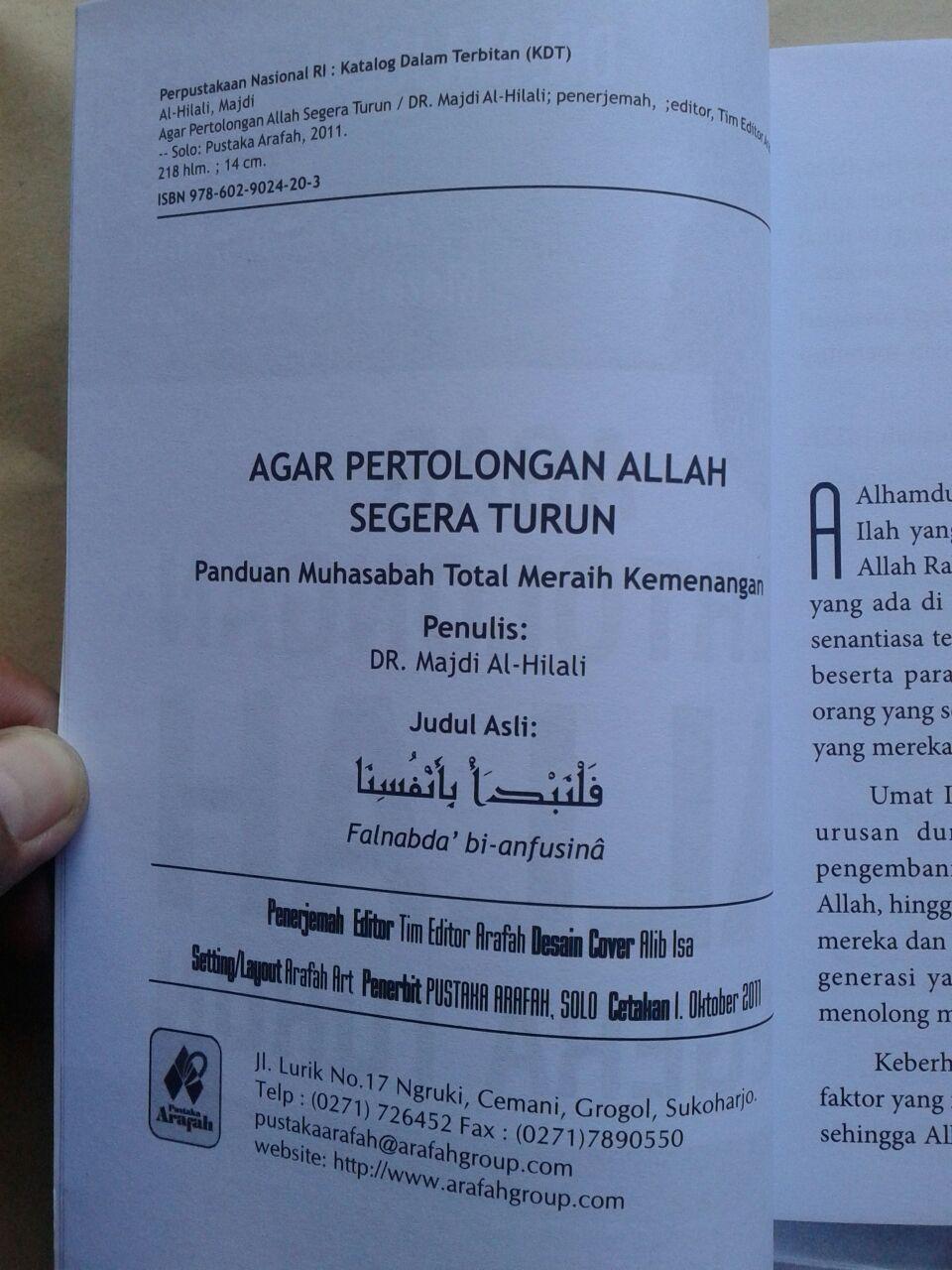 Buku Agar Pertolongan Allah Segera Turun 35.000 15% 29.750 Pustaka Arafah isi 3