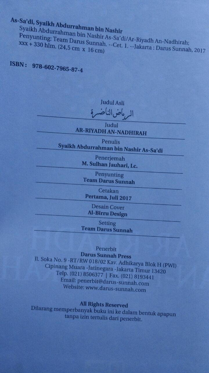 Buku Ar-Riyadh An-Nadhirah Untaian Nasihat Aqidah Akhlak Dan Lainnya 90.000 20% 72.000 Darus Sunnah Syaikh Abdurrahman bin Nashir As-Sa'di isi 2